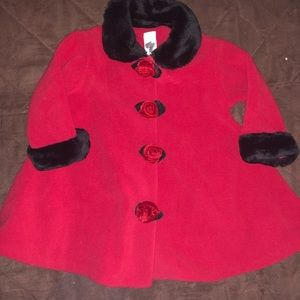 🆕 NWOT Starting Out Red Rose Coat and Hat 24M